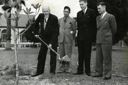 Paul Harris pflanzt einen Freundschaftsbaum in Lakeland, Florida, USA im Jahr 1942.
